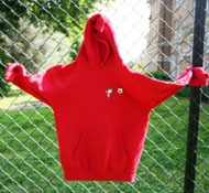 Warm, smart red hooded sweatshirt
